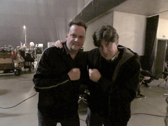 Cameron Crowe and Mark on the Roadies set