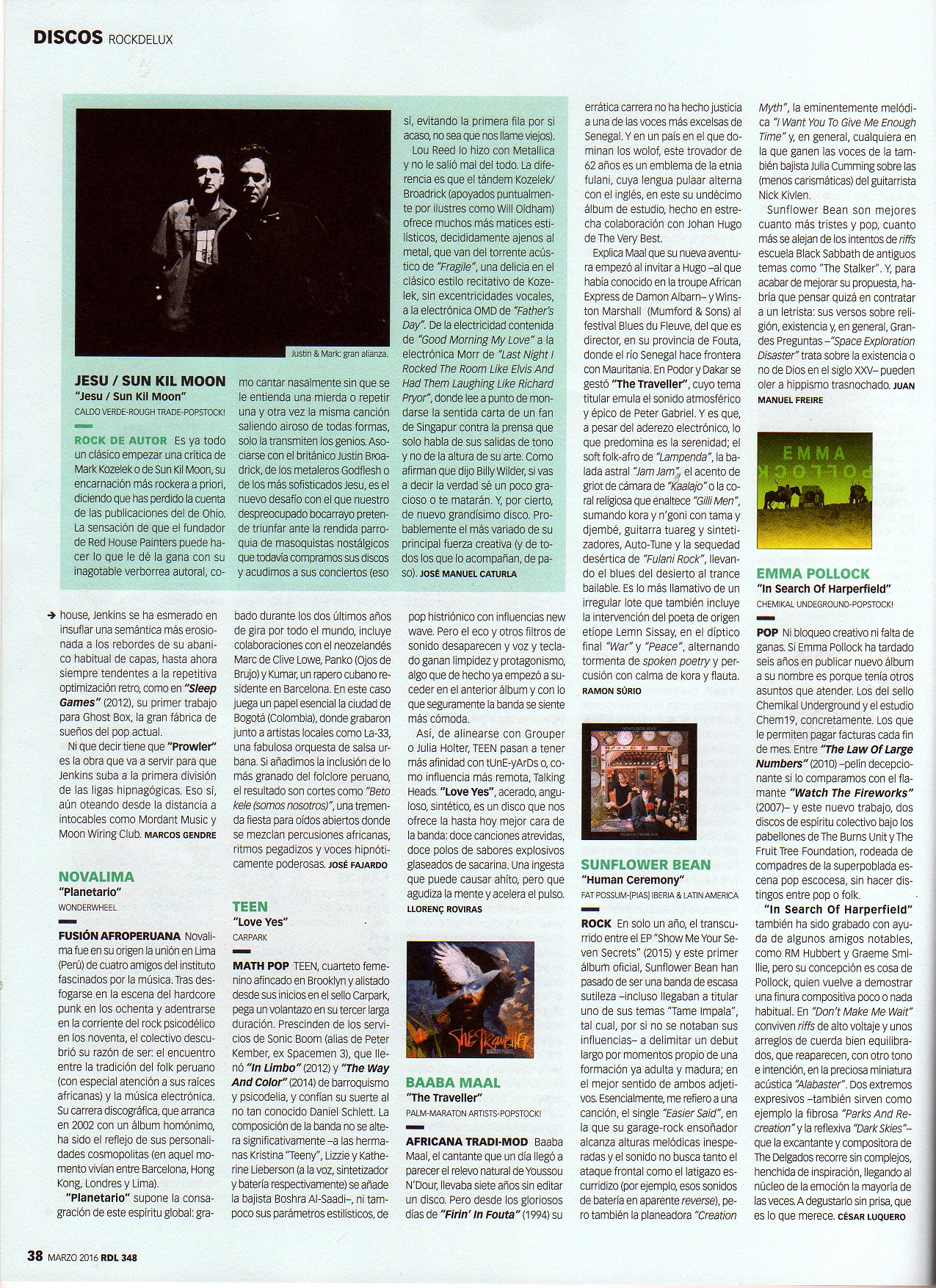 Rock De Lux Magazine: Jesu/Sun Kil Moon - Lead Review